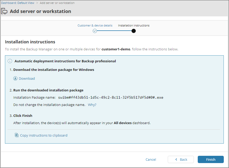 Automatic deployment of the Backup Manager