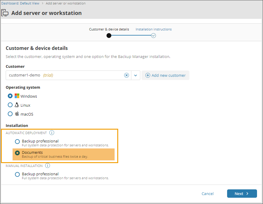 Device management in Backup Management Console