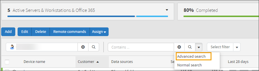 Expressions for advanced filter in Backup Management Console