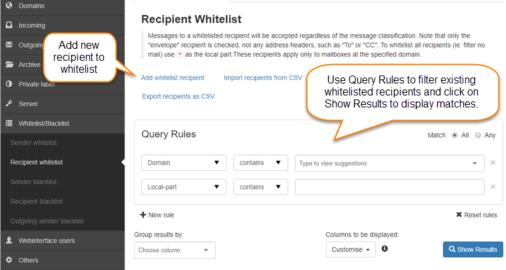 Manage Recipient Whitelist