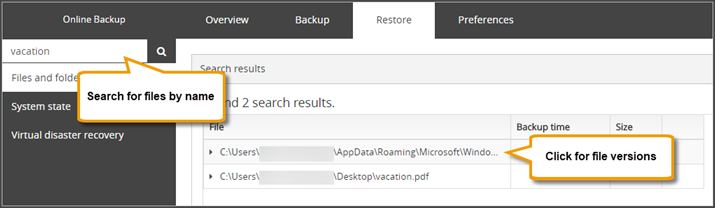Recovering data with Backup Manager