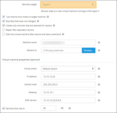 Virtual disaster recovery to Hyper-V