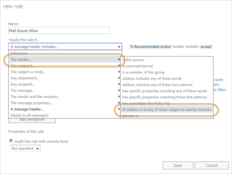 Configure Inbound Filtering for Microsoft Office 365