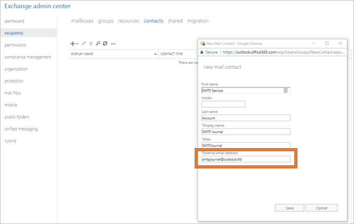 Configure Exchange Online Office 365 For Mail Assure SMTP Journaling