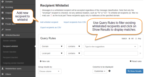 Manage Recipient Whitelist
