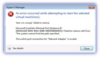 Network Adapter is invalid