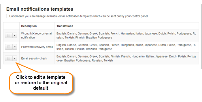 Manage Email Notifications Templates